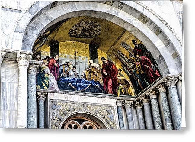 The Piazza Greeting Cards - Entry to St Marks Basilica - Venice Greeting Card by Jon Berghoff