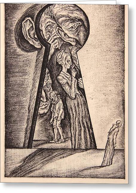 Drypoint Greeting Cards - Envy. Series Seven Deadly Sins Greeting Card by Leonid Stroganov