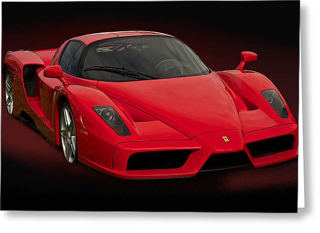 Rally Greeting Cards - Enzo Ferrari on Black VI Greeting Card by Dave Koontz
