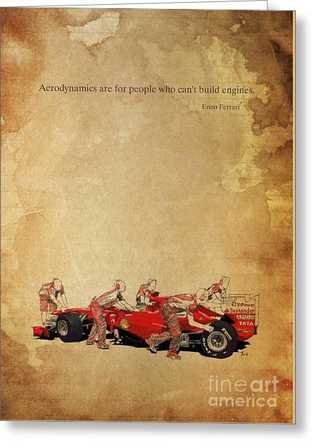 Box Mixed Media Greeting Cards - Enzo Ferrari quote - Ferrari F1 Greeting Card by Pablo Franchi