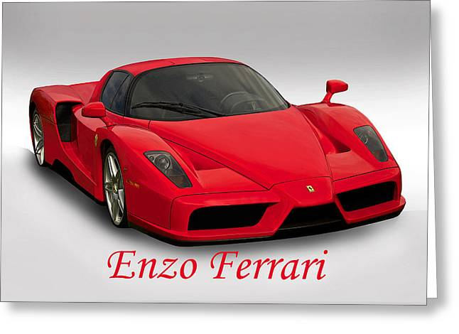 Rally Greeting Cards - Enzo Ferrari with ID Greeting Card by Dave Koontz