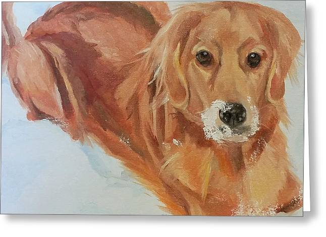 Dogs In Snow. Paintings Greeting Cards - Enzo Greeting Card by Mary Gold