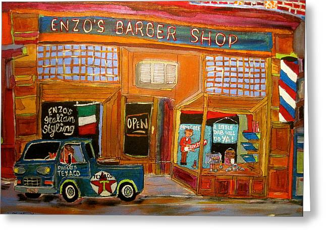 Enzo's Barber Shop Greeting Card by Michael Litvack