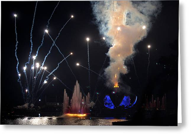Epcot Greeting Cards - Epcot Fireworks - Open Earth Greeting Card by Michelle Wiarda