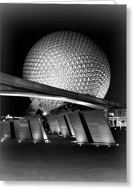 Epcot Center Greeting Cards - Epcot Glow BW Greeting Card by Jenny Hudson