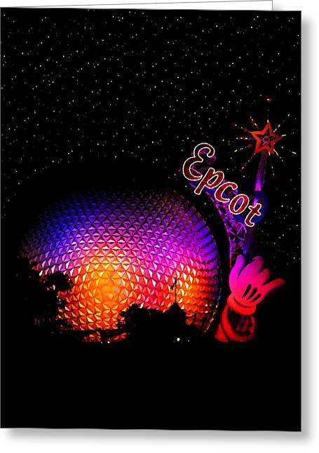 Stary Greeting Cards - Epcot night Greeting Card by David Lee Thompson