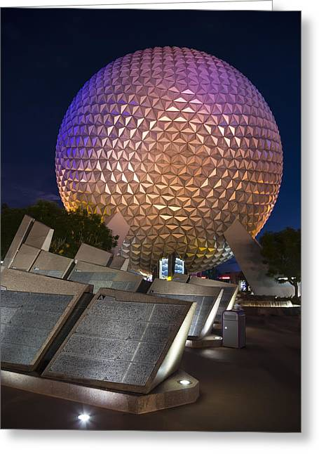 Theme Parks Greeting Cards - Epcot Spaceship Earth Greeting Card by Adam Romanowicz