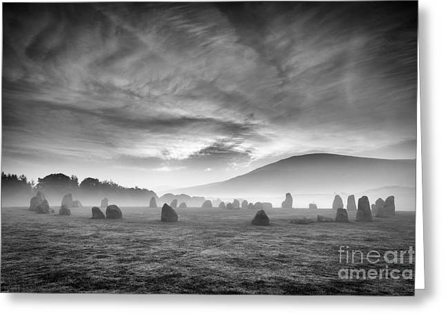 Vale Greeting Cards - Ephemeral Light over Castlerigg Stone Circle Greeting Card by John Potter