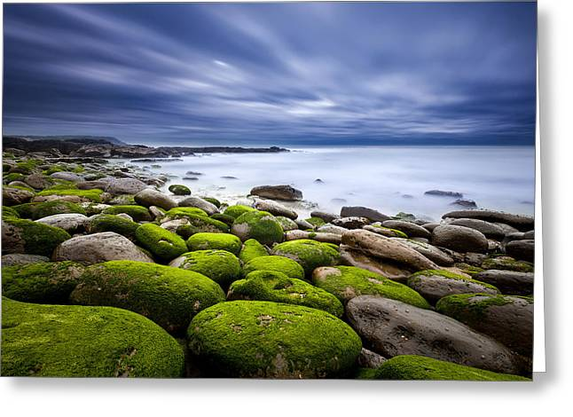 Green Clouds Greeting Cards - Ephemeral motion Greeting Card by Jorge Maia