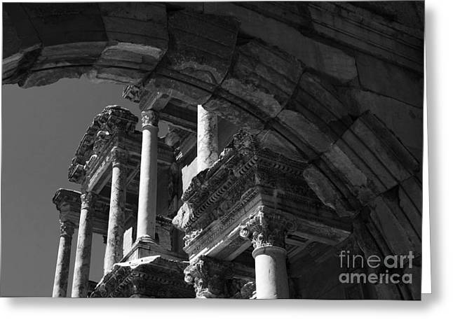 Ancient Ruins Greeting Cards - Ephesus Turkey The Library Greeting Card by Bob Christopher