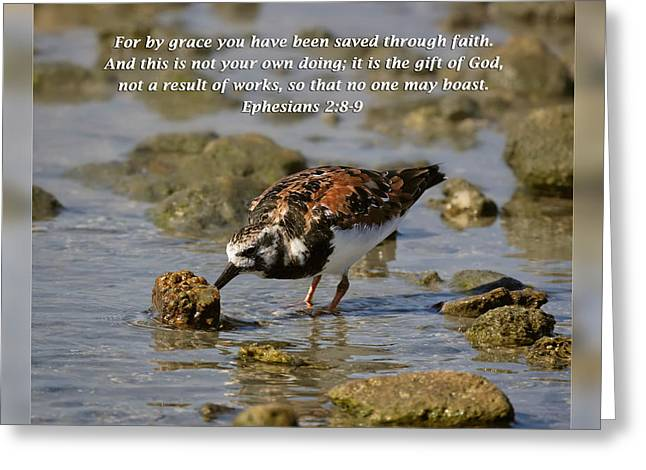 Thank You Greeting Cards - Ephesians 2 8-9 Greeting Card by Dawn Currie