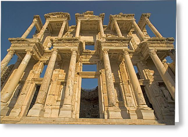Archeological Site Of Ephesus Greeting Cards - Ephesus library 1 Greeting Card by Dennis Cox WorldViews