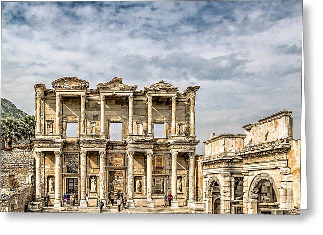 Civilization Greeting Cards - Ephesus Library Greeting Card by Maria Coulson