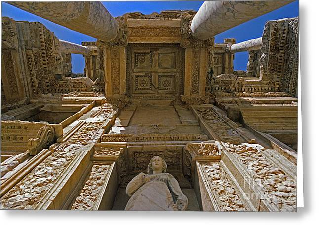 Archeological Site Of Ephesus Greeting Cards - Ephesus Library Turkey Greeting Card by Craig Lovell