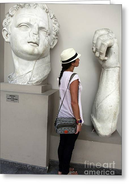 Domitian Greeting Cards - Ephesus museum sculptures Greeting Card by Ros Drinkwater