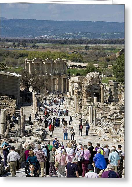 Cliff C Morris Jr Greeting Cards - Ephesus Walk to Celsus Greeting Card by Cliff C Morris Jr