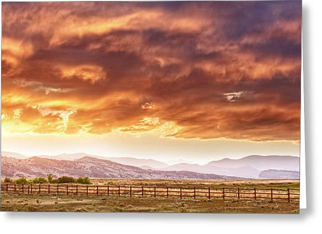 Sunset Posters Greeting Cards - Epic Colorado Country Sunset Landscape Panorama Greeting Card by James BO  Insogna