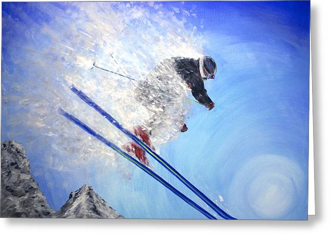 Ski Jumping Greeting Cards - Epic Day Greeting Card by Teshia Art