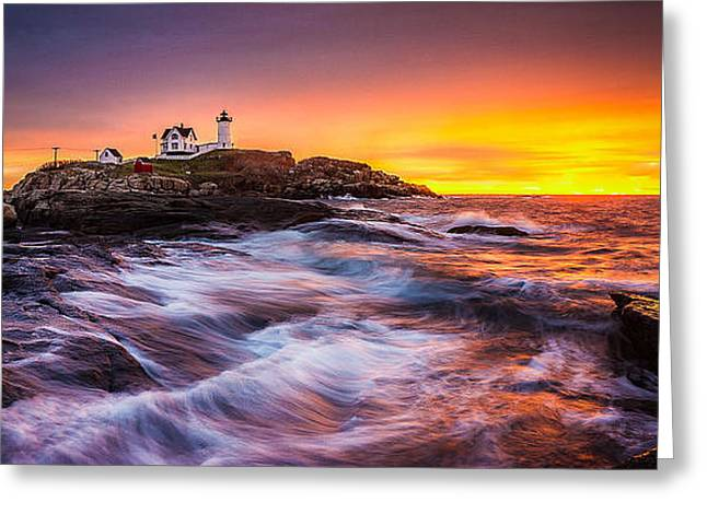 Recently Sold -  - New England Ocean Greeting Cards - Epic Sunrise at Nubble Lighthouse Greeting Card by Benjamin Williamson