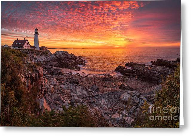Maine Beach Greeting Cards - Epic Sunrise at Portland Head Light Greeting Card by Benjamin Williamson