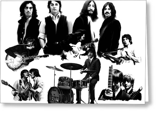 Epic   The Beatles Greeting Card by Iconic Images Art Gallery David Pucciarelli