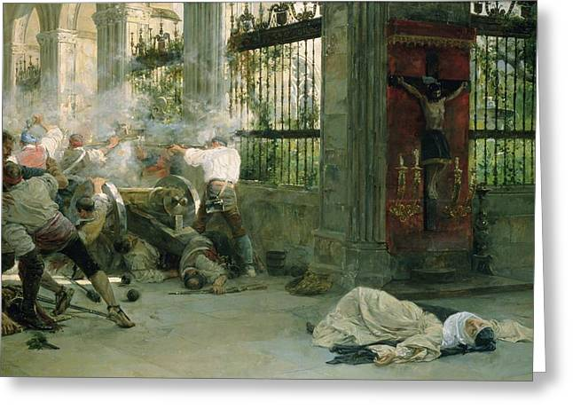 Cloister Greeting Cards - Episode From The War Of Independence, 1892 Oil On Canvas Greeting Card by Eugenio Alvarez Dumont