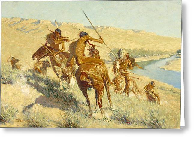 Remington Greeting Cards - Episode of the Buffalo Gun Greeting Card by Frederic Remington