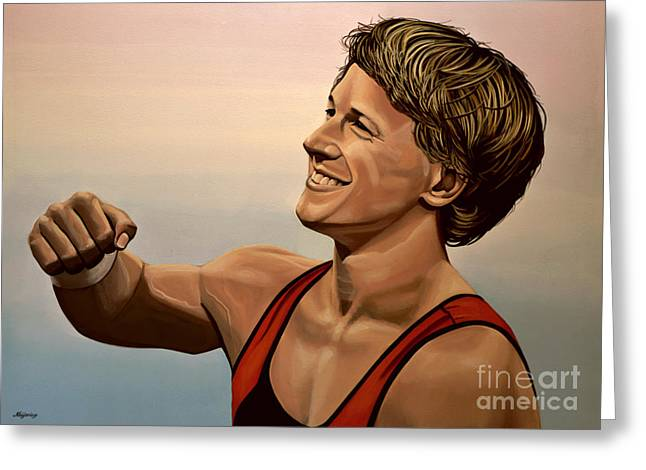 Olympic Games Greeting Cards - Epke Zonderland The Flying Dutchman Greeting Card by Paul  Meijering