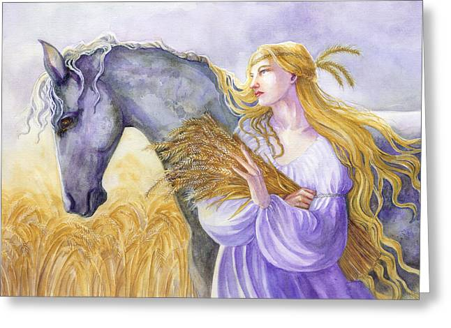 Divine Feminine Greeting Cards - Epona Greeting Card by Janet Chui