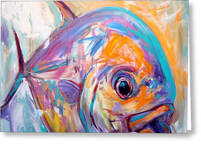 Fish Print Greeting Cards - Expressionist Permit - Contemporary Art Greeting Card by Savlen Art