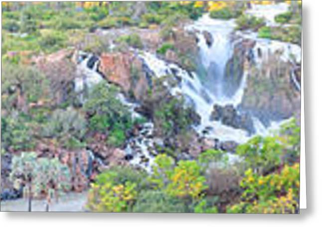 Broccoli Greeting Cards - Epupa waterfall panorama Greeting Card by Grobler Du Preez