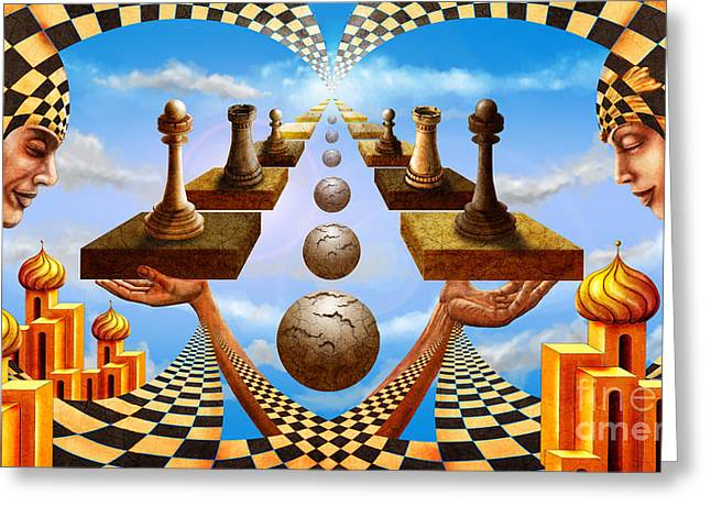 Constellations Greeting Cards - Allegory of Chess. Equal Exchange Greeting Card by Sergey Malkov