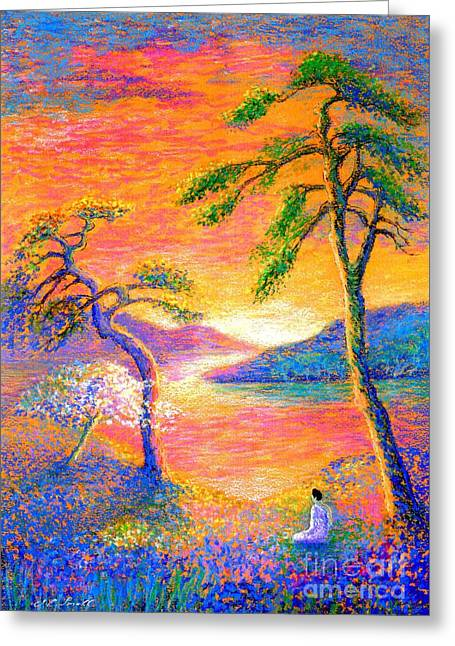 Surreal Fantasy Trees Landscape Greeting Cards - Divine Light Greeting Card by Jane Small