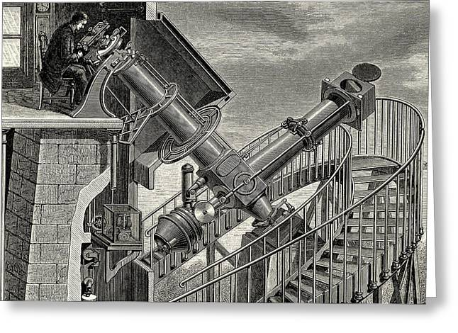 Equatorial Coude' Refracting Telescope Greeting Card by Universal History Archive/uig