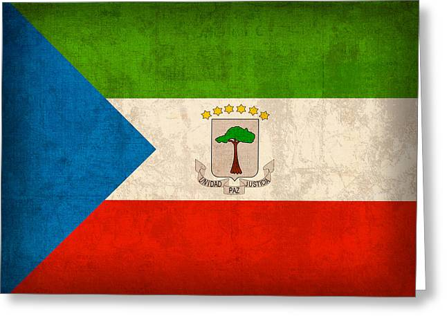 Equatorial Guinea Flag Vintage Distressed Finish Greeting Card by Design Turnpike