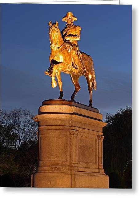 Statue Portrait Photographs Greeting Cards - Equestrian Bronze Statue of George Washington Greeting Card by Juergen Roth