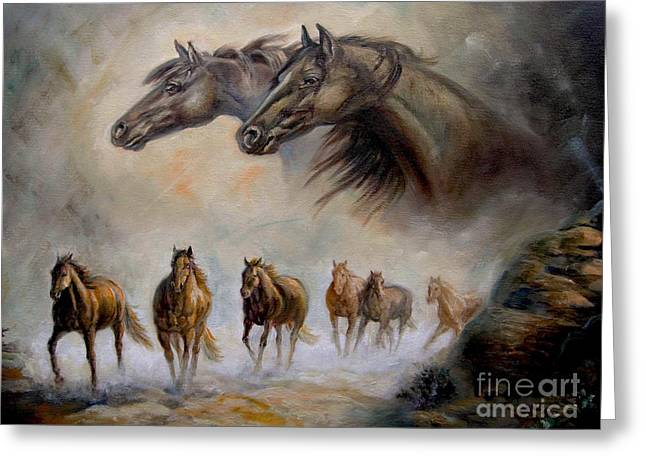 Contemporary Horse Greeting Cards - Equestrian horse painting Distand Thunder Greeting Card by Gina Femrite