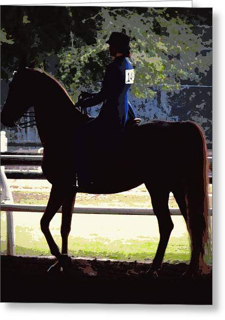 Equestrian Prints Digital Greeting Cards - Equestrian Lady in Blue Greeting Card by Sheri McLeroy