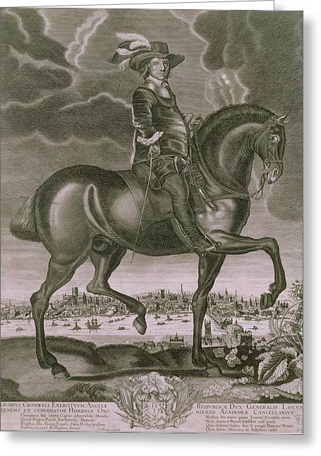 Animals Drawings Greeting Cards - Equestrian Portrait of Oliver Cromwell  Greeting Card by Albert Haelwegh