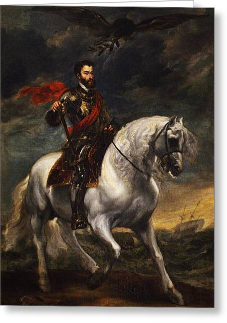 The Uffizi Greeting Cards - Equestrian portrait of the Emperor Charles V Greeting Card by Anthony van Dyck