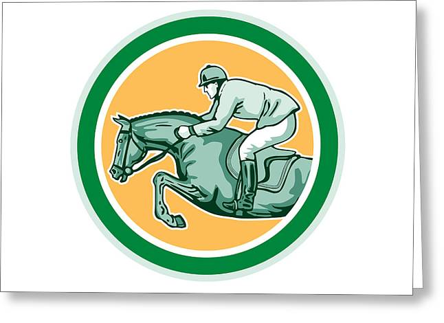 Show Jumping Greeting Cards - Equestrian Show Jumping Side Circle Retro Greeting Card by Aloysius Patrimonio