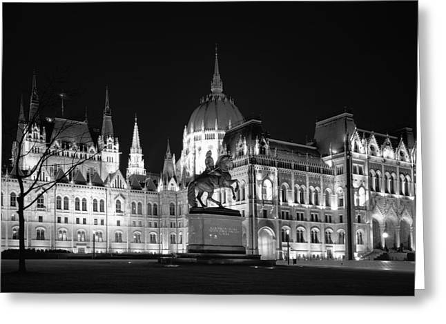 Francis Greeting Cards - Equestrian Statue and Hungarian Parliament BW Greeting Card by Joan Carroll