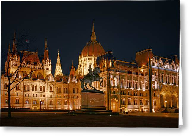 Francis Greeting Cards - Equestrian Statue and Hungarian Parliament Greeting Card by Joan Carroll