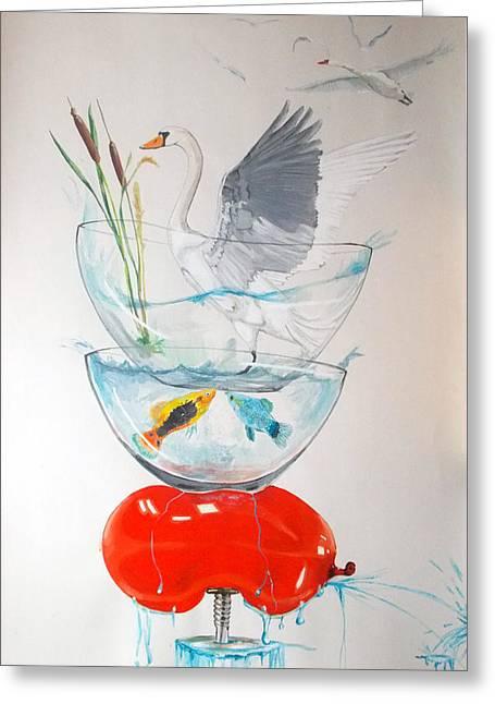 Swans... Greeting Cards - Equilibrium Greeting Card by Lazaro Hurtado