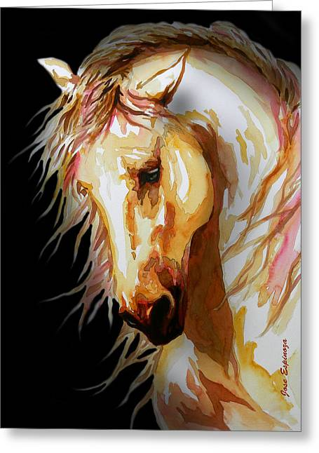 Horse Art Pastels Greeting Cards - EQUUS in black Greeting Card by Jose Espinoza