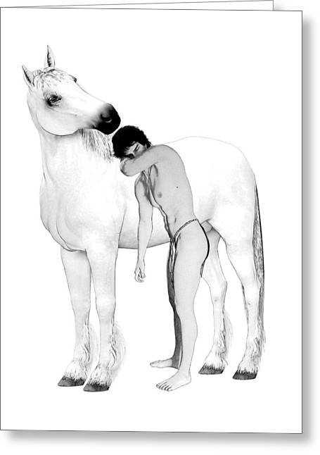 Recently Sold -  - Abstract Digital Drawings Greeting Cards - Equus  Greeting Card by Joaquin Abella