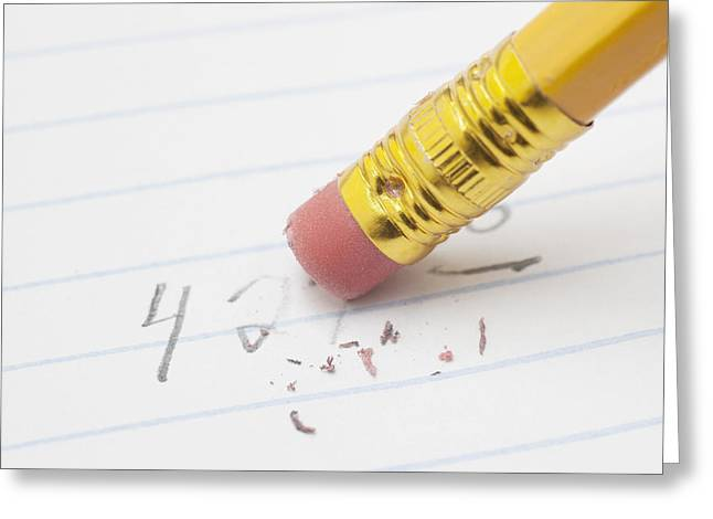 Erasing Numbers From Sheet Of Lined Paper With Pencil Greeting Card by Donald  Erickson