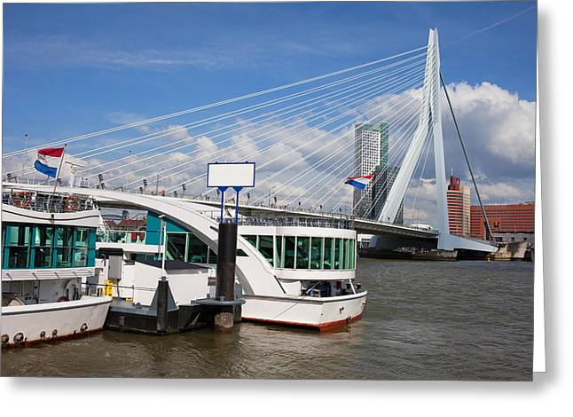 Boat Cruise Greeting Cards - Erasmus Bridge in Rotterdam Downtown Greeting Card by Artur Bogacki