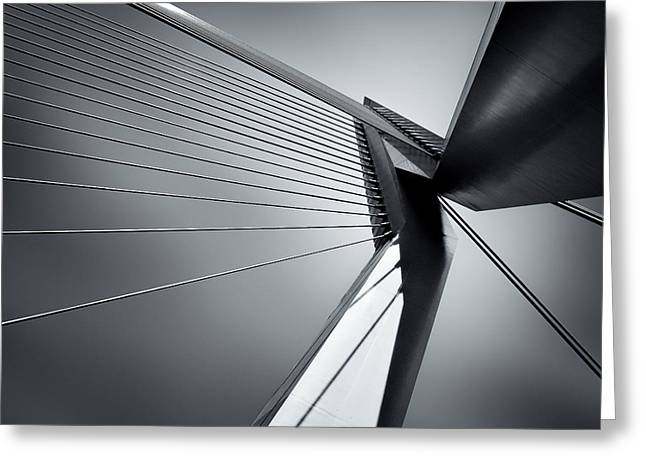 Monochrome Greeting Cards - Erasmusbrug Greeting Card by Dave Bowman