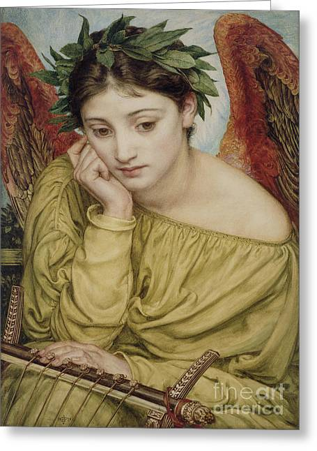 Win Paintings Greeting Cards - Erato Muse of Poetry 1870 Greeting Card by Sir Edward John Poynter